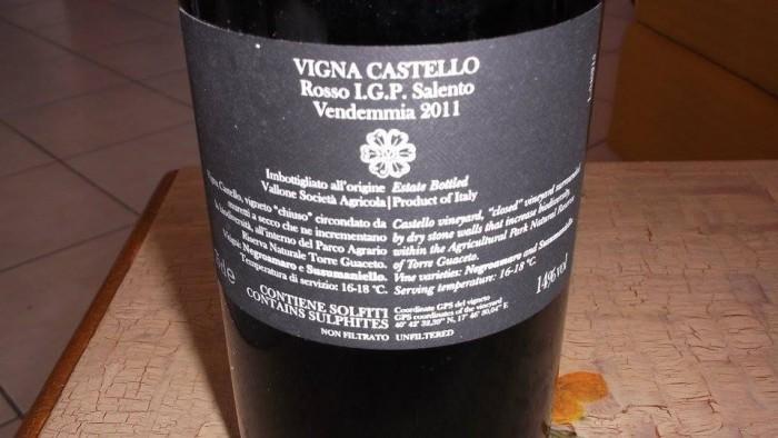 Controetichetta Vigna Castello Rosso Salento Igp 2011 Vallone