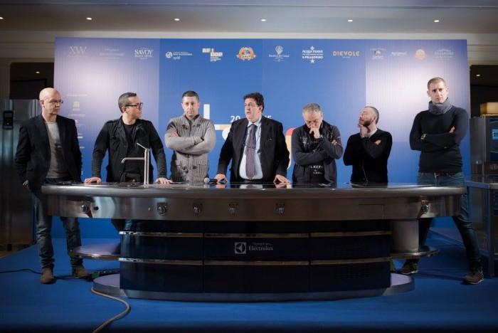 Le Strade della Pizza, da sinistra: Franco Pepe, Gino Sorbillo, Ciro Salvo, Luciano Pignataro, Enzo Coccia, Gennaro nasti e Salvatore Salvo