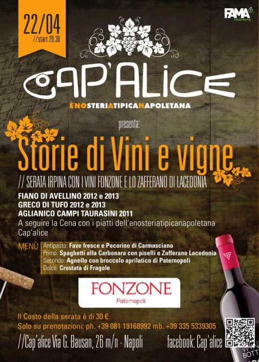 Serata irpina a Cap'alice con i vini Fonzone e lo zafferano di Lacedonia