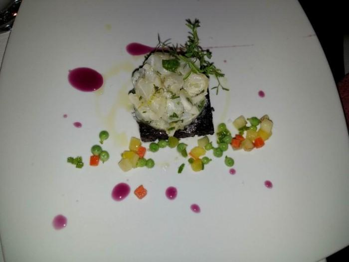 Taberna del Principe, Baccalà in ceviche, riso venere, insalata di frutta e verdura, profumo di bergamotto