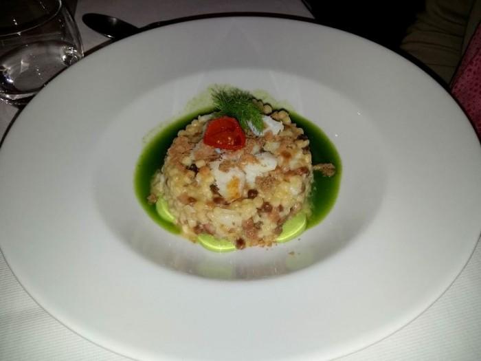 Taberna del Principe, Fregola, baccalà, pomodoro secco, bottarga di merluzzo e acqua di merluzzo