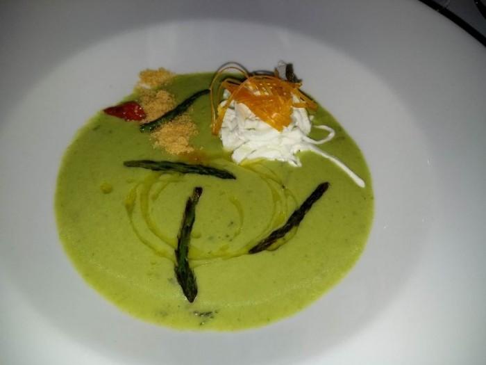 Taberna del Principe, Zuppa di asparagi, uovo marinato, polenta gratinata, mozzarella di bufala