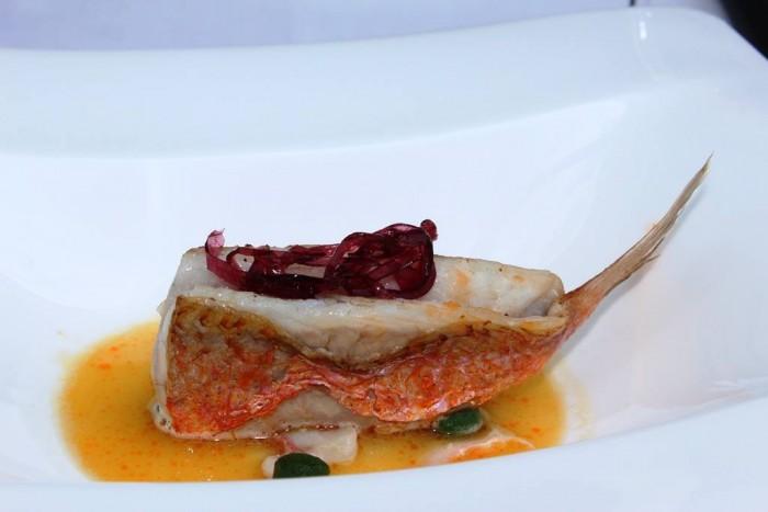 Torre del Saracino, Triglia in umido con gnocchetti di bietola e caprino con cavolo rosso fermentato in agrodolce