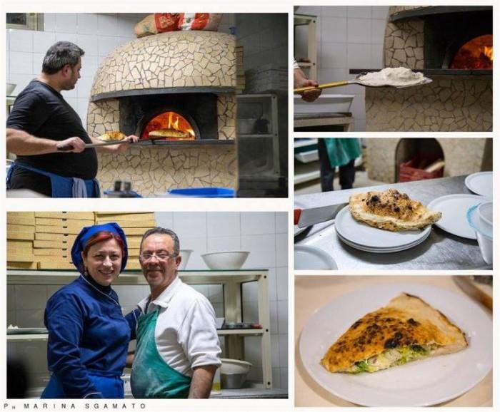 Trancio di pizza ripiena con scarole crude, capperi di Pantelleria, olive di Gaeta, provola di bufala, noci di Sorrento, acciughe  e olio extravergine d'oliva
