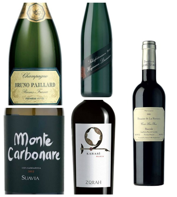 i vini: Bruno Paillard Champagne Brut Premiere Cuvée sa, Heymann-Lowenstein Schieferterrassen 2013, Suavia soave classico Monte Carbonare 2012, Zorah Karasi Areni Noir 2012, Domaine de la Rectorie Banyuls Leon Parce mis tardive 2011