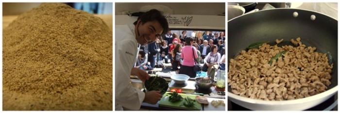 il grano arso e Sergio Barzetti mentre prepara lo spätzle