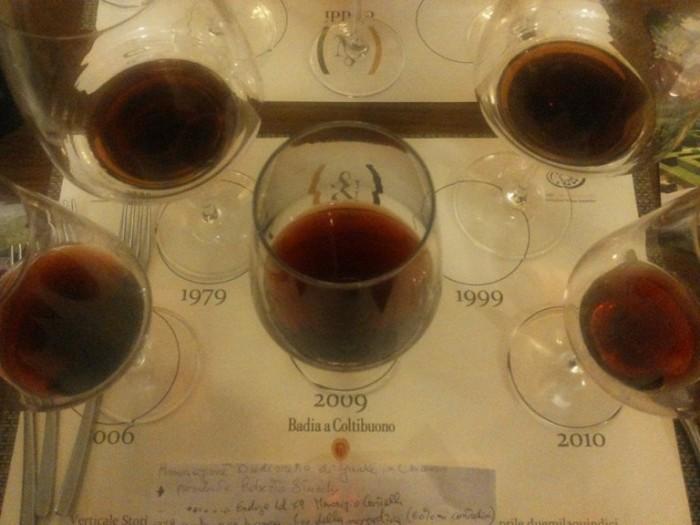 la degustazione di Chianti Classico Badia a Coltibuono al Cieddì di Portici