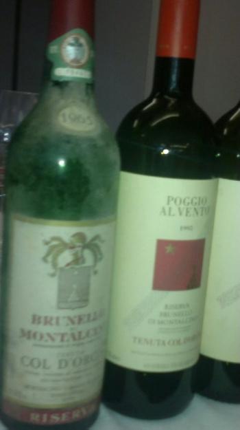 verticale Col d'Orcia, alcune bottiglie in degustazione