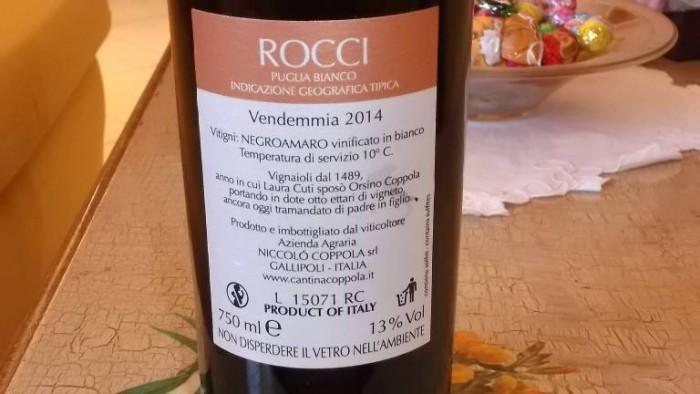 Controetichetta Rocci Negroamaro BIanco Puglia Igt 2014 Coppola