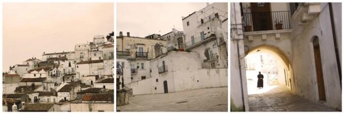Il Borgo Medioevale Jummo, il rione dove c'è l'ingresso del locale e i sarcedoti in meditazione lungo le strade del centro
