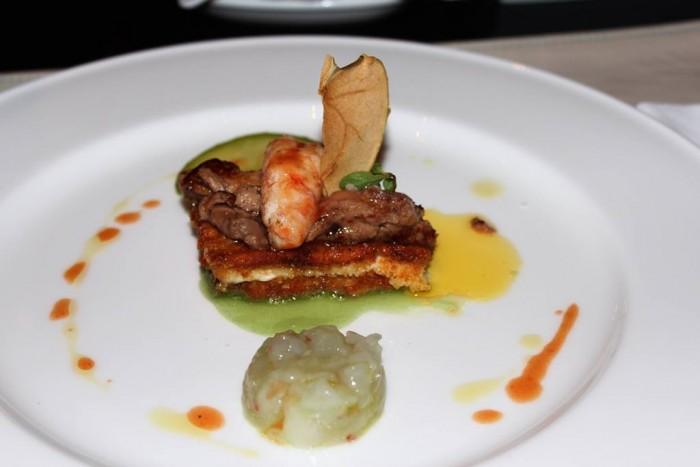 J.K. Palace Capri, scampi, foie gras, mozzarella di bufala e mela verde