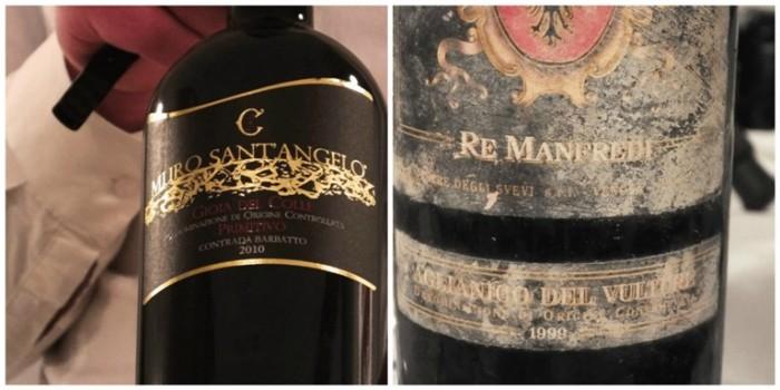 Muro-Sant'Angelo Gioia del Colle DOC Primitivo Contrada Barbatto 2010 e Aglianico Re Manfredi 1999