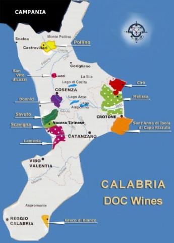 Le aree vitivinicole in Calabria
