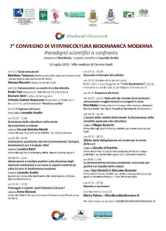7° Convegno di vitivinicoltura biodinamica moderna