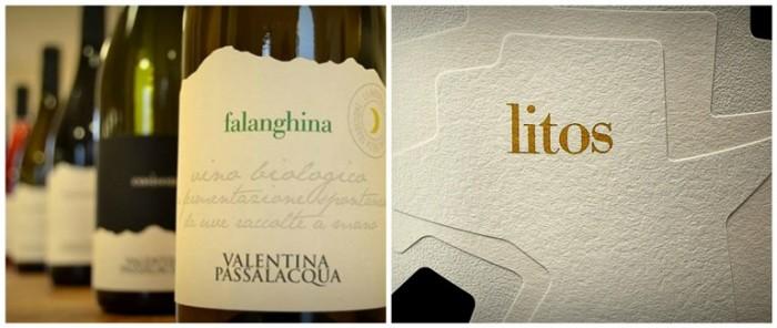 Alcune bottigllie di Passalacqua e l'etichetta di Litos