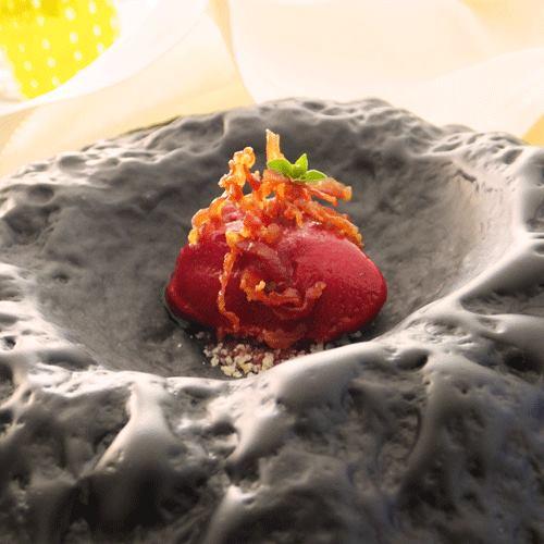 Cristian Torsiello, Sorbetto alla rapa rossa, ciliege, prosciutto e origano