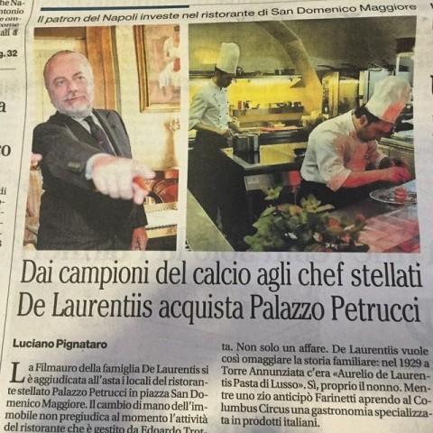 sul Mattino di oggi: De Laurentis compra Palazzo Petrucci