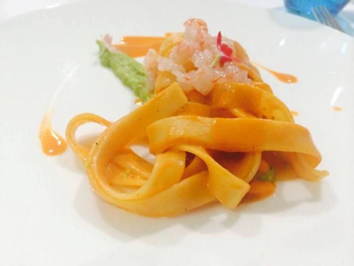La Galleria,  fettucce con salsa di zucchine alla scapece e gamber