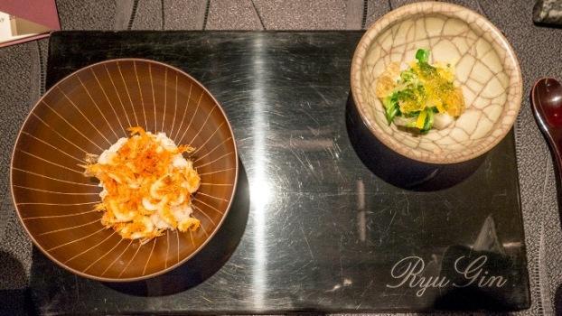 Ryugin, Riso al tè di fiore di ciliegio, gamberetti Sakura e verdure crude