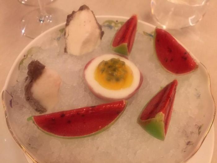 Sorbetti Ricostruzione di cocco, anguria e passion fruit
