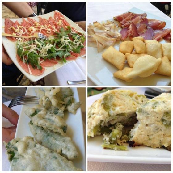 Taverna di Campagna, gli antipasti: carpaccio di cinta, salumi misti e donzelle, salvia fritta in pastella e sformato di asparagi selvatici