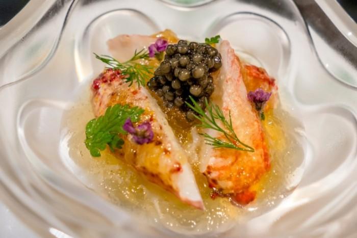 Ginza Ukai-Tei, Granchio, caviale e gelatina al cetriolo