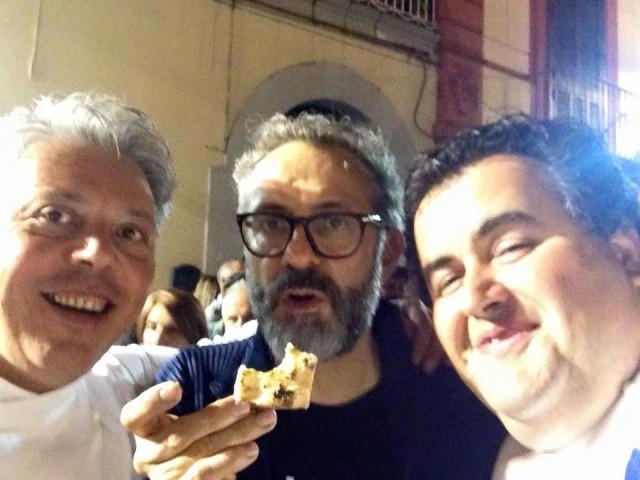 Vincenzo Esposito a Festa a Vico 2015 con Bottura e Gennaro Esposito