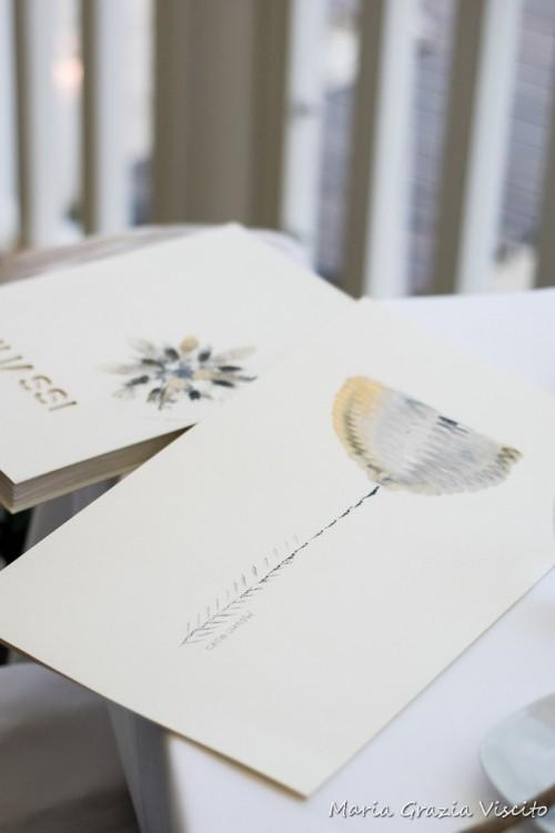 i menu dipinti a mano da Catia Uliassi