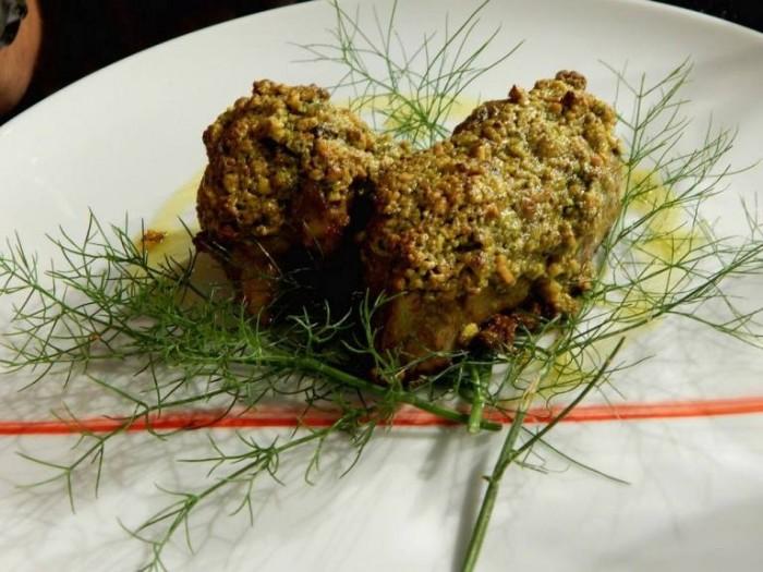 Osteria Cappuccini, agnello con pistacchio di Bronte