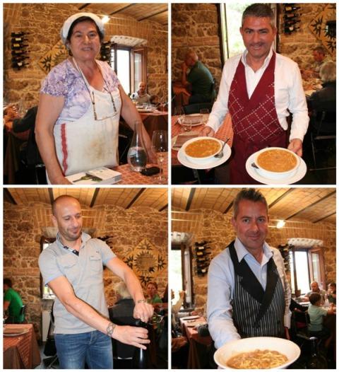 Cappadocia,, in senso orario: mamma Anna, Marcello e la sua zuppa di fagioli, Salvatore il futuro sommelier e Lamberto Vannucci di Centorame e il suo spumante