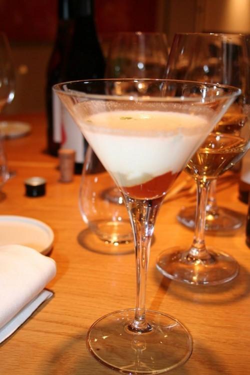 Ristorante Mammaròssa, cocktail di parmigiana, salsa di datterini arrosto mozzarella di bufala e spuma di Parmigiano