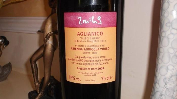 Controetichetta Aglianico Colli di Salerno Igt 2009 Mila Vuolo