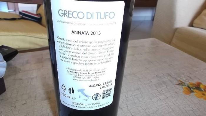 Controetichetta Greco di Tufo Docg 2013 Tenuta Russo Bruno