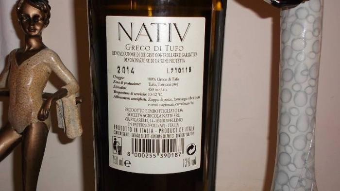 Controetichetta Greco di Tufo Docg 2014 Nativ