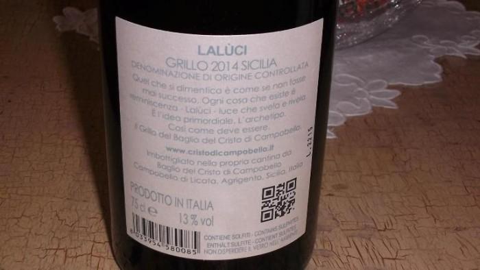 Controetichetta Laluci Grillo Sicilia Doc 2014 Baglio del Cristo di Campobello