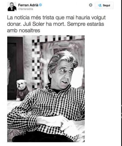 Il tweet di Ferran Adrià