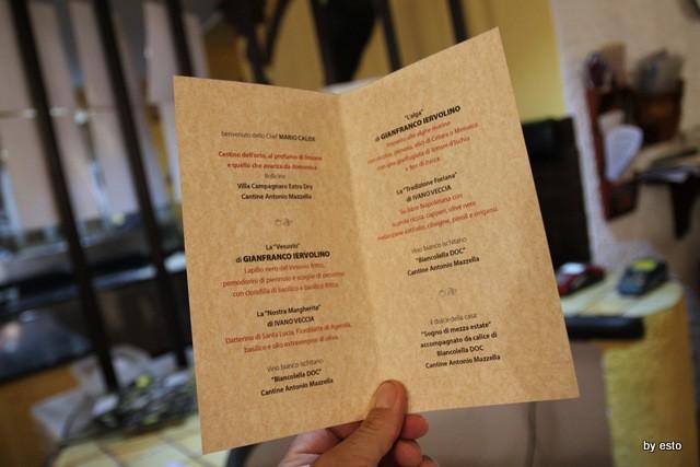 Il menu della Serata a Il Limoneto con Gianfranco Iervolino e Ivano Vecci