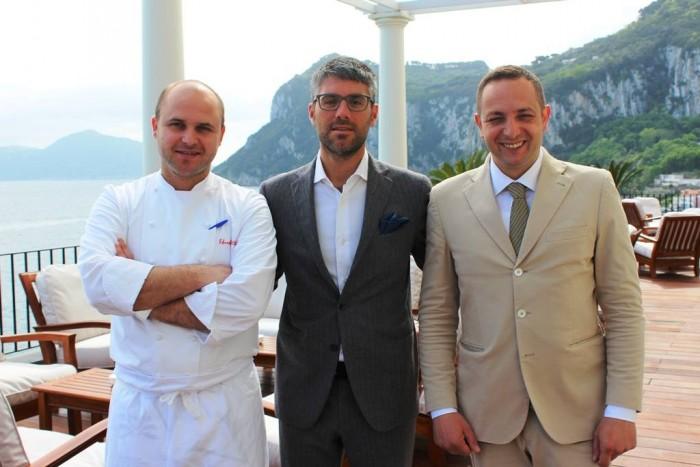 Jk Place Capri, a sinistra lo chef Eduardo Estatico
