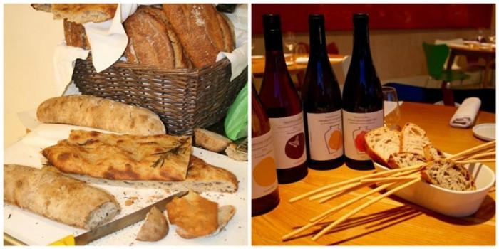 Ristorante Mammaròssa, pani e pizze bianche e il cestino di pane e i vini di Francesco Cirelli