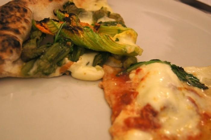 Pizzeria Gorizia. Margherita e pizza con pecorino, provola  affumicata e fiori di zucca