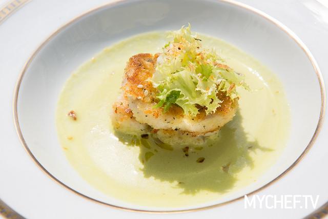 Zuppa di olive nocellara del Belice con pesce spatola anni 80 - Chef Gennaro Esposito
