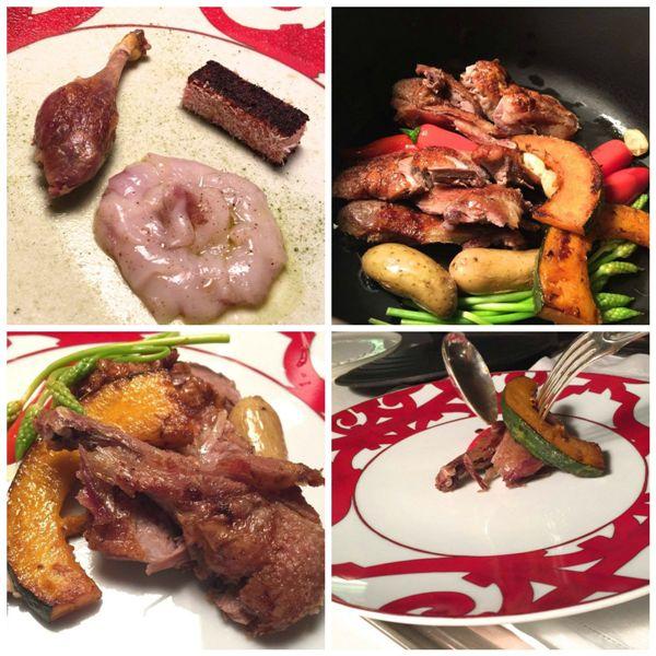 Casa Vissani, anatra croisé, peperoni rossi, cipolla e cocco, cappesante alle more sauvage, morbido di thé verde