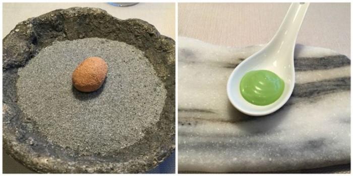 Terra, patata al bronzo cotta nella terra, erba di grano