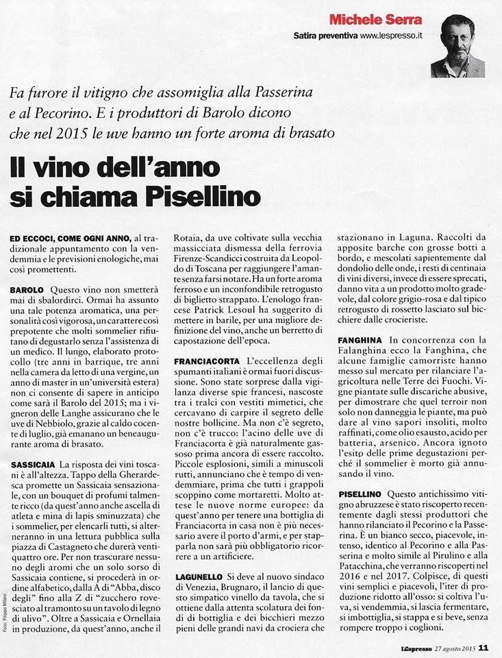 Michele Serra e il  vino italiano