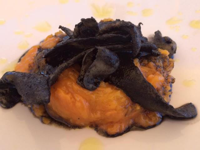 Taverna del Mozzo, zucca e tagliatelle di seppie al nero