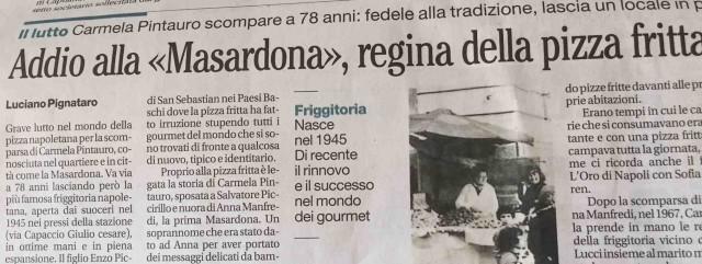 La scomparsa di Carmela PIntauro oggi sul Mattino