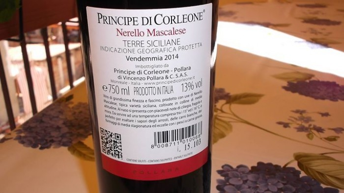 Controetichetta Nerello Mascalese Terre Siciliane Igp 2014 Principe di Corleone