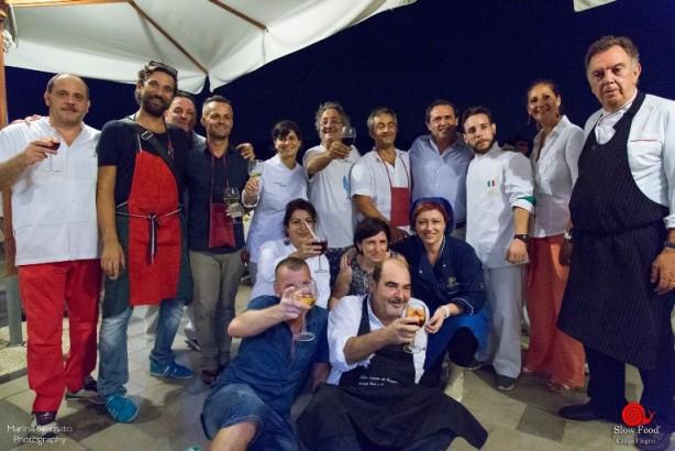 Gli interpreti Interpreti di Terra Madre a fine serata alle Stufe di Nerone