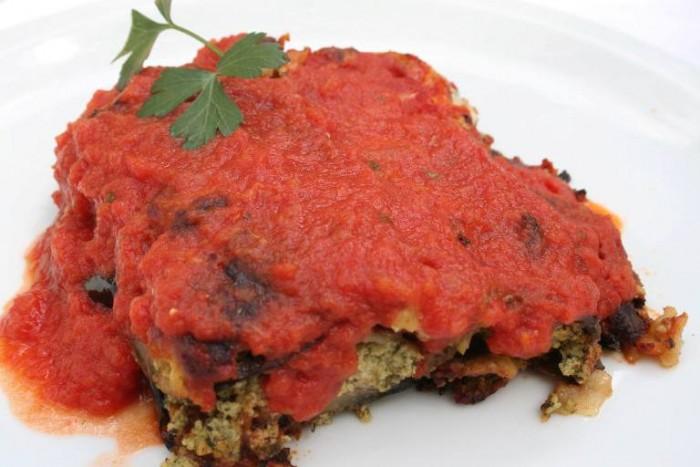 Lupinc, parmigiana con ricotta e spinaci
