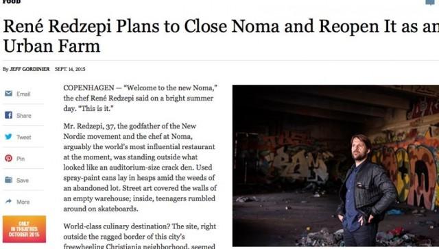 La notizia di René Redzepi sul New York Times